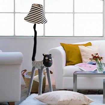 Noel hediyesi Salonu zemin lambası oturma odası için Çocuk odası zemin ışık kanvas kumaş Şerit Kedi ayakları Ayarlanabilir Standı Lambası