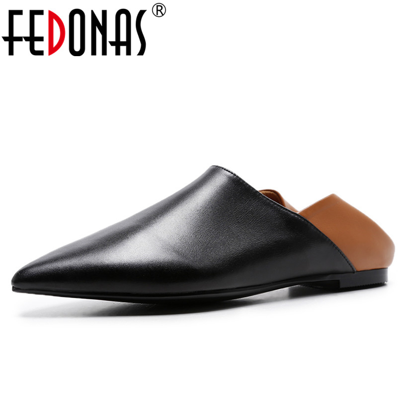 FEDONAS New Arrival Genuine Leather Flat Women Ballet Flats Shoes Woman Pointed Toe Comfortable Shoes Black For Lady стоимость