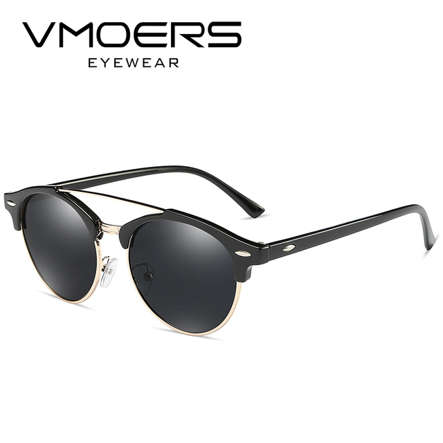 943484e2fd VMOERS Polarized Retro Rivet Sunglasses Women Round Semi Rimless Sun Glasses  For Women Vintage Brand 2017