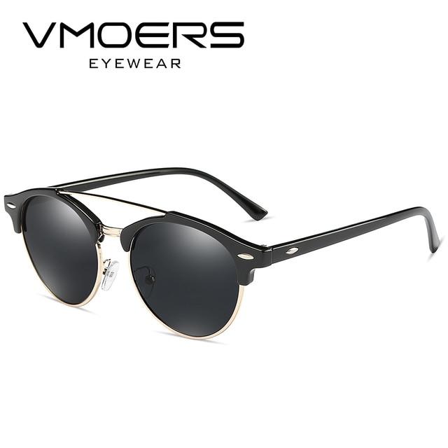 943484e2fd VMOERS Polarized Retro Rivet Sunglasses Women Round Semi Rimless Sun Glasses  For Women Vintage Brand 2017