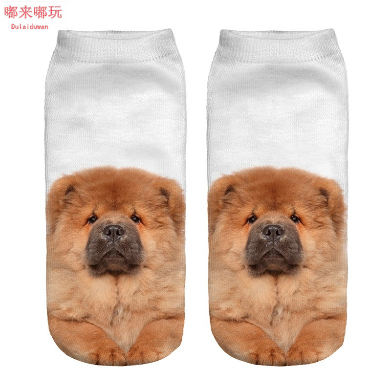 Hot Sale Animal 3D   Socks   Chow Pattern Cozy Thin Comfortable   Socks   Casual Dulaiduwan Chow Low Cut Cotton   Socks   Drop Shipping