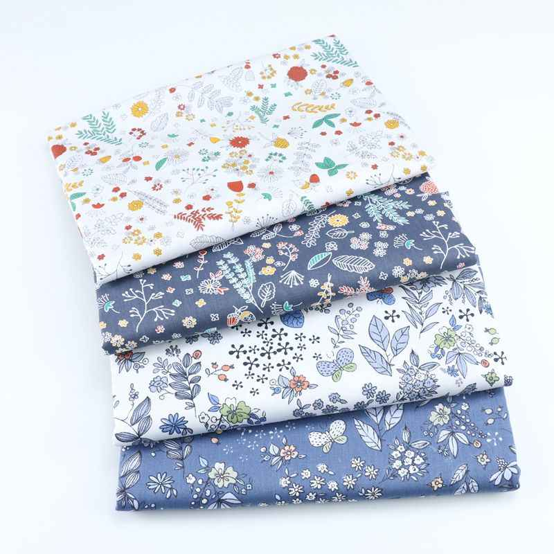 Navy Floral Printed Twill Cotton Fabric For DIY Patchwork Quilting Tissue Handwork Cloth Sewing Baby Sheets Dress Home Textile