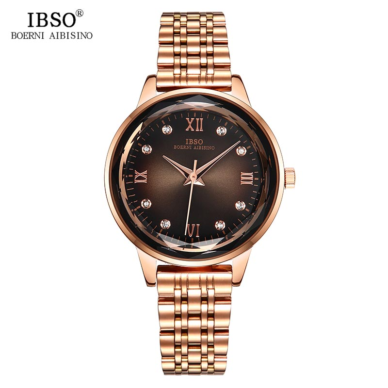 IBSO Top Brand Diamond Cutting Glass Quartz Watch Women Solid Stainless Steel Strap Luxury Women Wrist Watches Montre Femme GiftIBSO Top Brand Diamond Cutting Glass Quartz Watch Women Solid Stainless Steel Strap Luxury Women Wrist Watches Montre Femme Gift