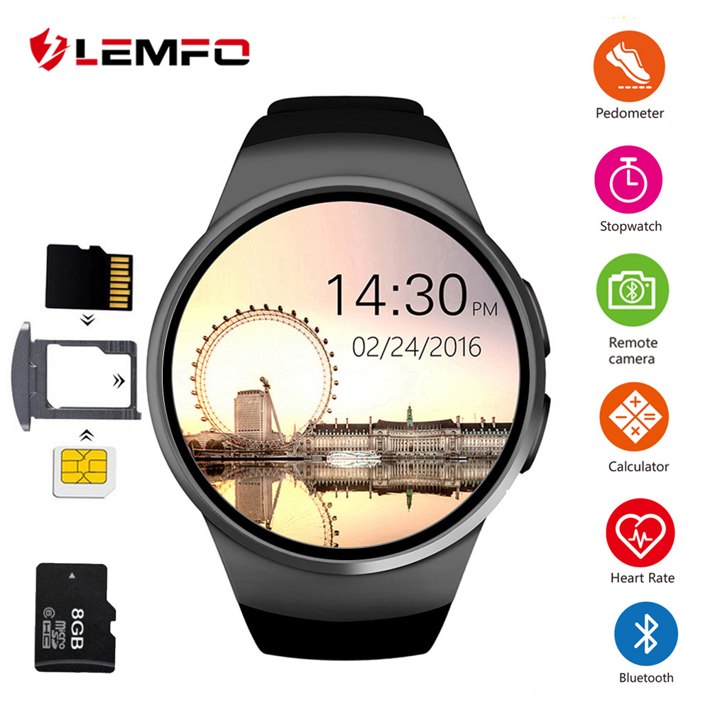 LEMFO KW18 Smart Watch Men Support SIM TF Card Bluetooth Call Heart Rate Pedometer Sport Modes Smartwatch For Android IOS