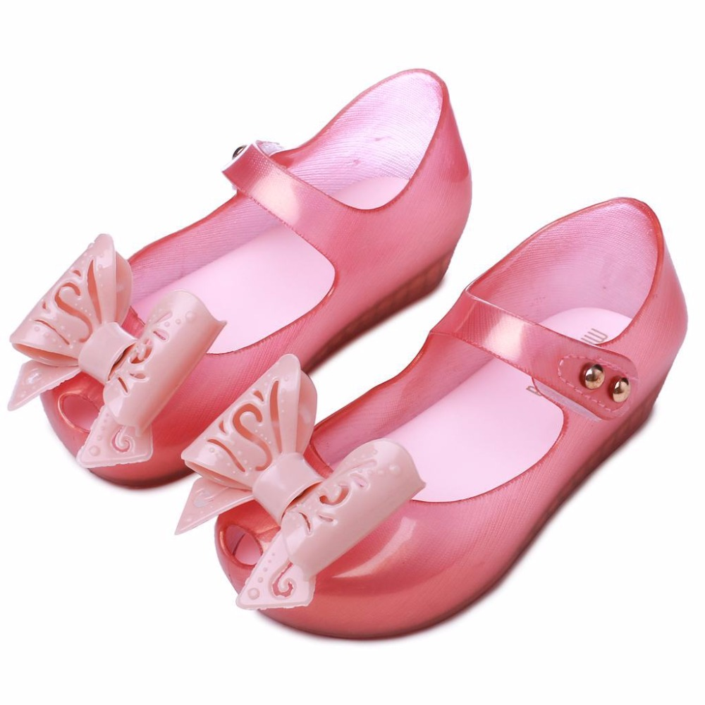 Mini Melissa Hollow Bow Girls Jelly Sandal 2018 Summer New Children Melissa Jelly Sandals Soft Girl Shoes Wear-resistant Sandals
