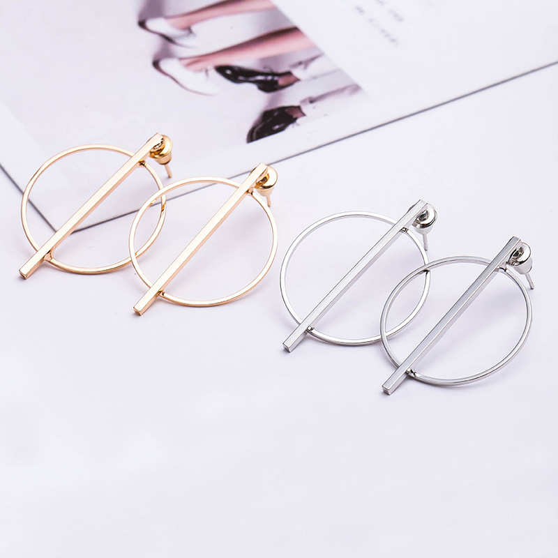 10 pairslot Women Gold Silver Plated Big Circle Stud Earrings Large Hollow Round Earring Ear Accessories Jewelry