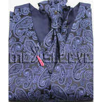 Promotion New Mens Tuxedo Suit Navy Paisley Vest Ascot Cufflink Handkerchief Free Shipping
