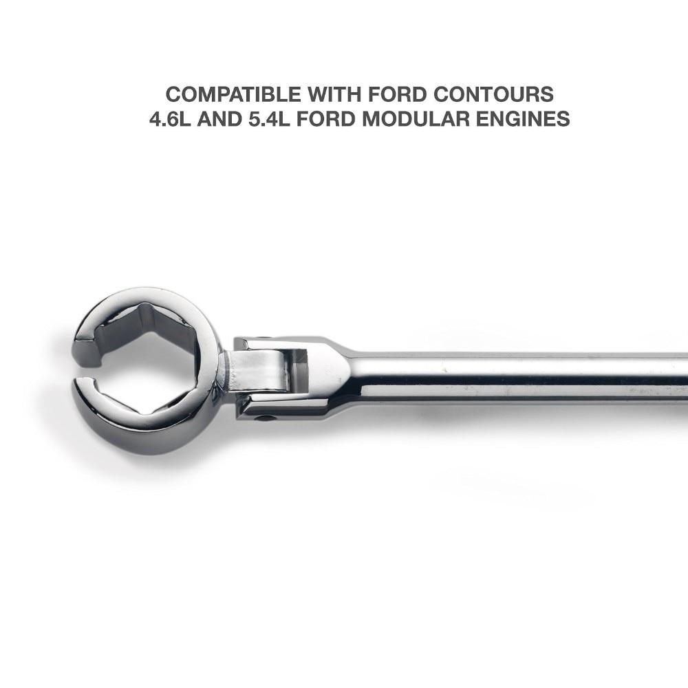 with Contour Handle and Flexible Head Chrome-Vanadium Steel Heavy Duty Auto Oxygen Sensor Wrench 7//8