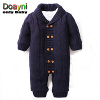 Doayni Baby Baby Rompers 2017 Autumn Winter Baby Clothing Double Breasted Turn Down Collar Baby Jumpsuits