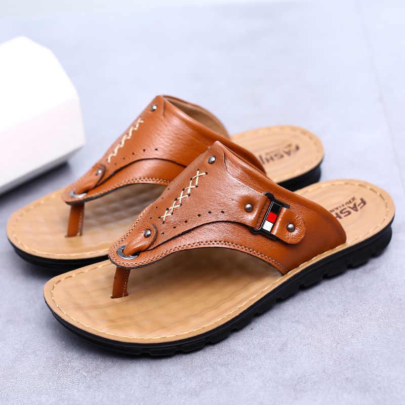 1ced883fcea5 ... 2018 Hot Sale Fashion Breathable Summer Men Leather Slides Sandals  Shoes Classical Male Italian Designer Sandals