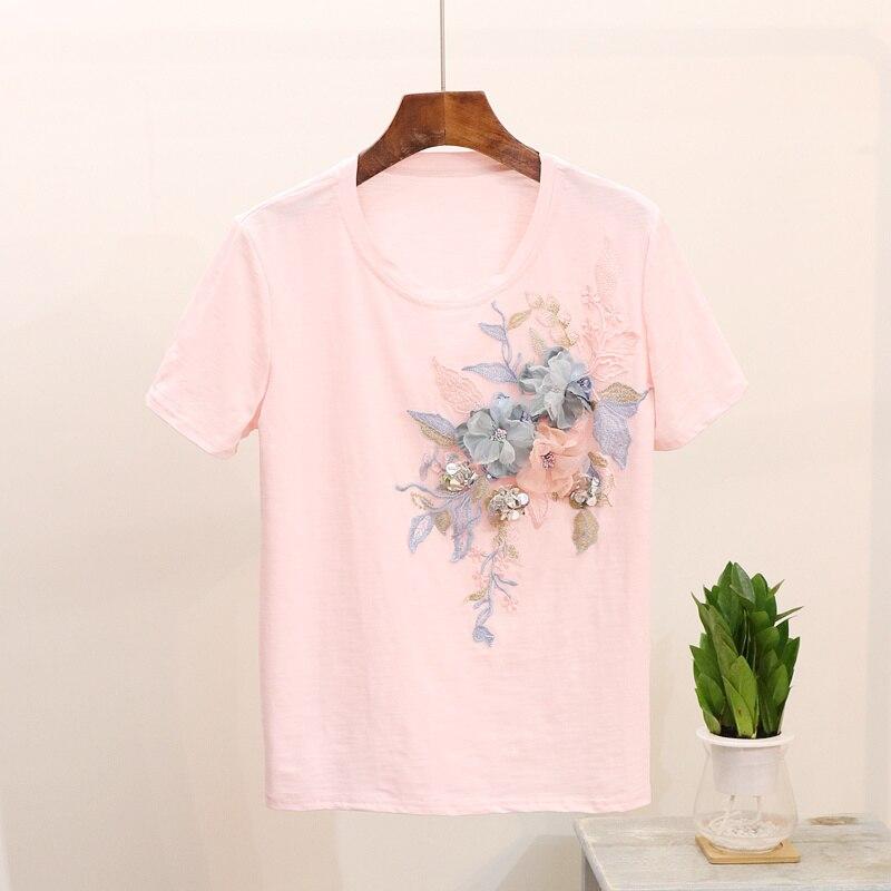 Women Tshirts 2019 Summer Printing Harajuku Women T-shirt Three-dimensional Flower Beaded Sequins Perfect Decoration Female Tops
