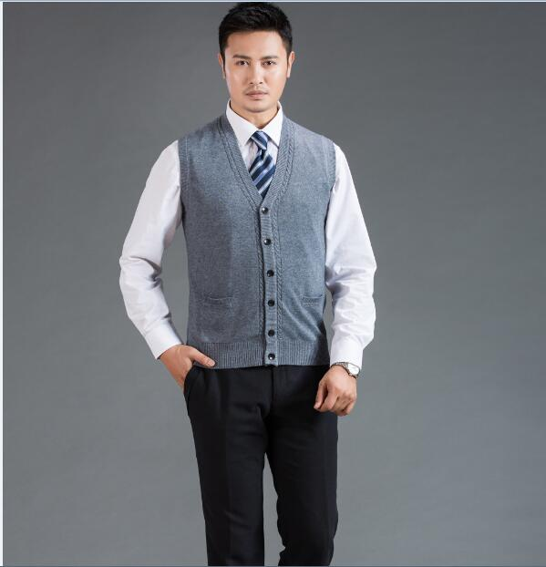 New Autumn Fashion Middle Age Mens Sweater Vest Deep V-neck Plain Cashmere Cardigan Sweater