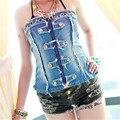 Pliegue de La Cintura Hollow hole cowboy corsé 2017 de la manera Atractiva steampunk gótico bustier corset sexy tube top bandeau korse bralette