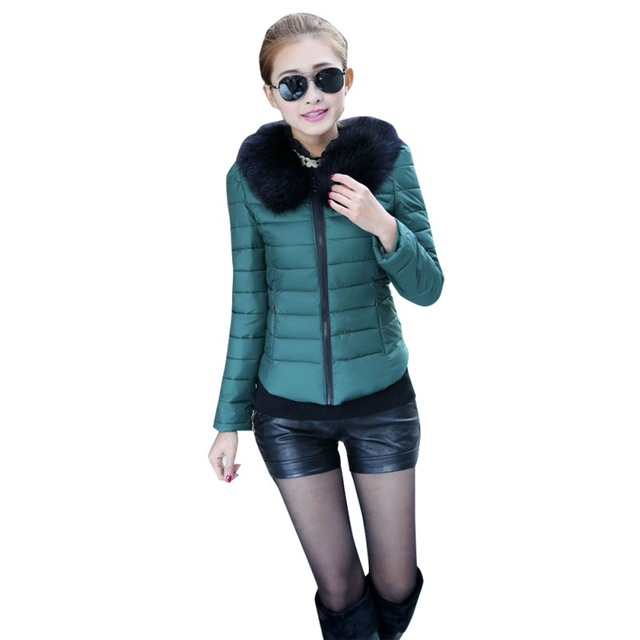 Зимнее пальто женщин леди вниз тонкий капюшоном меховой воротник пальто парка