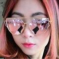 Горячая Мода Женщины Cat eye Поляризованные Розовое золото Солнцезащитные Очки Классический Марка Дизайнер Двойной Балки Солнцезащитные Очки Зеркало Плоский Объектив 074