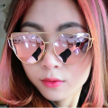 Hot Fashion Women Cat eye Polarized Rose gold Sunglasses Classic Brand Designer Twin-Beams Sunglasses Mirror Flat Panel Lens 074