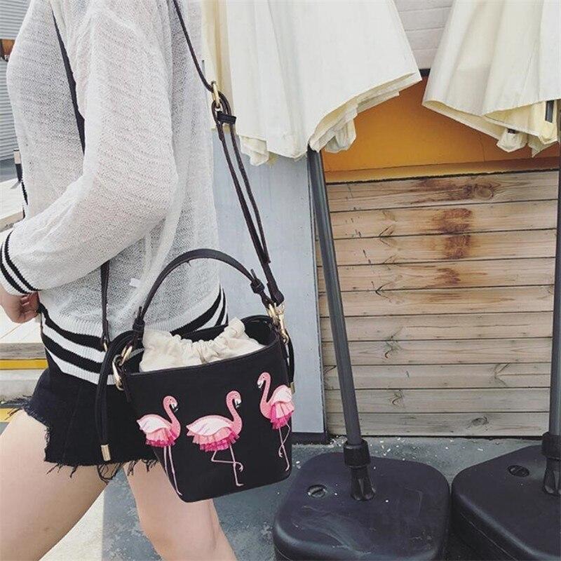 Borse Spalla Con Del Delle Modo Borsa A Il Alta Elaborazione Flamingo Qualità Le Rosa Secchio Ragazze colore Dell'unità Cuoio Tracolla Progettista bianco Donne Per Di Nero CqOwT5