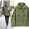 2016 Autumn Winter Fashion Casual Hooded Tooling Uniform Plus Size Women  Long-Sleeve Jackets Women Army Green Outerwear Coats
