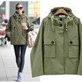 2016 Outono Inverno Moda Casual Com Capuz Uniforme Ferramental Plus Size Mulheres Longo-Luva Casacos Mulheres Outerwear Exército Verde Casacos