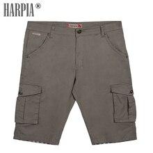 HARPIA Men Cargo Shorts 2018 Summer  Mens Cotton Mid Waist Loose Classic Pocket Shorts Male Bermuda Stretch Straight Short Pants drawstring side pocket bermuda shorts