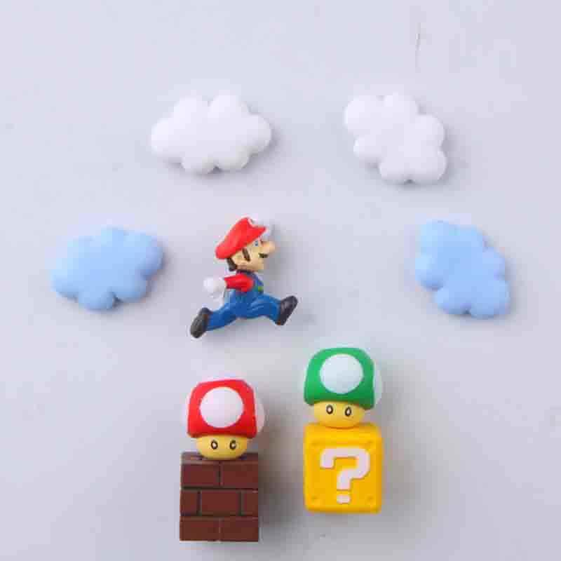 10 Uds princesa Arco Iris nubes 3D Funy estereoscópico Super Mario Bros imanes de nevera etiqueta para mensaje niños juguete regalo de cumpleaños