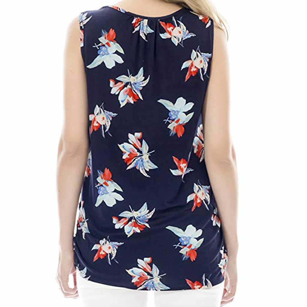 Топ для кормящих женщин летние цветочные для грудного вскармливания Повседневная футболка без рукавов Одежда для беременных Ropa Embarazada 19Apr23