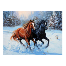 DIY diamond painting horse running in winter scenery full dimaond embroidery red black decor mosaic