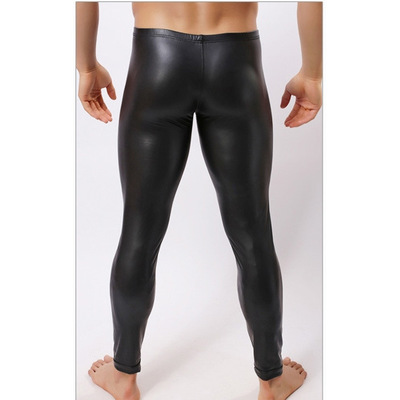 Leggings Tights Faux-Leather Bodywear-Pants Skin Black Men's HOT Low Pouch Stage-Performance