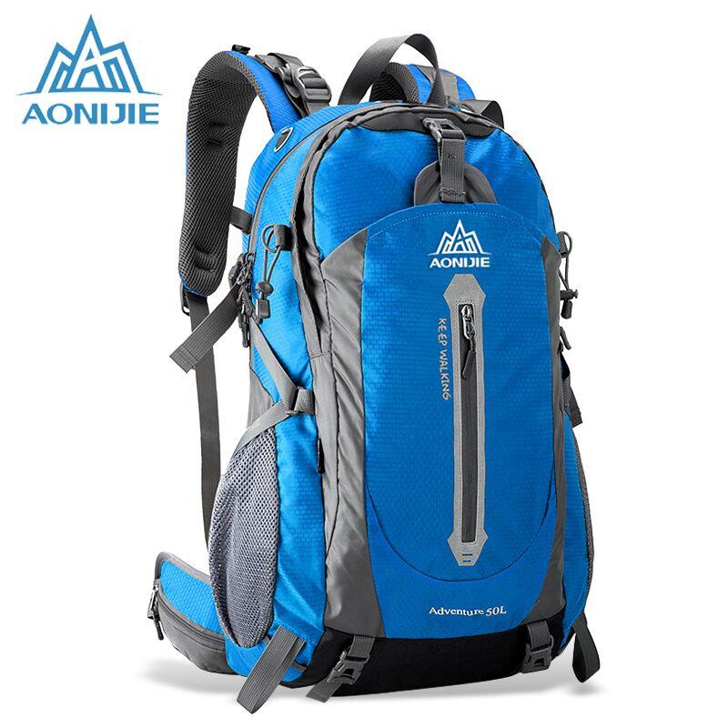 цена AONIJIE Climbing Bag Backpack Mountainteering Backpack Men Outdoor Sports Backpacks Mountain Bag Women Waterproof Hiking Bag 50L