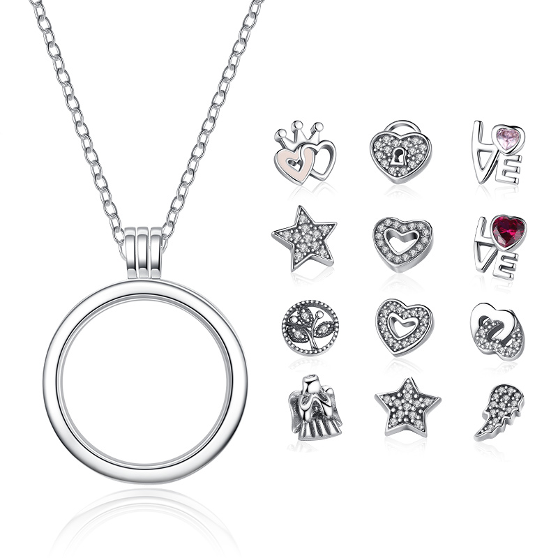 Floating Charm Pendants Sterling Silver Jewelry 100% 925 Sterling Silver Floating Locket Necklaces