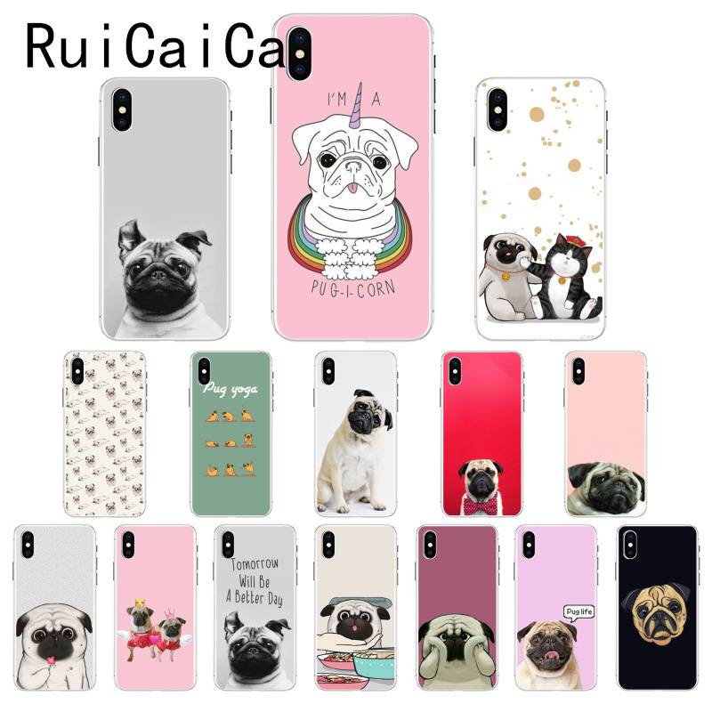 Ruicaica Cute Pug Dog Newly Arrived Phone Case For IPhone 8 7 6 6S Plus 5 5S SE XR X