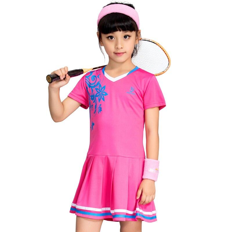 Robe de Badminton de Tennis pour enfants filles respirant à séchage rapide costume de Tennis d'été robe de sport avec un pantalon court