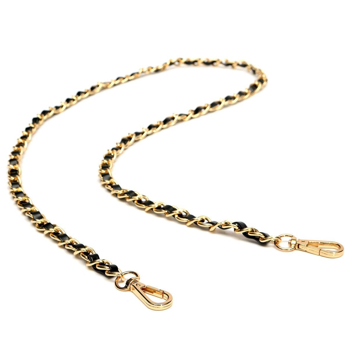 DCOS Chain Purse Cross-body Handbag Shoulder Bag Strap Replacement Accessories Light gold + black120cm