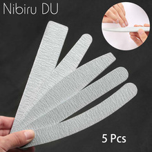 5 pcs/lot Sandpaper Nail File Lime 100/180 Double Side Sanding Buffer Block Set Grey Files For UV Gel Polish Manicure Tool