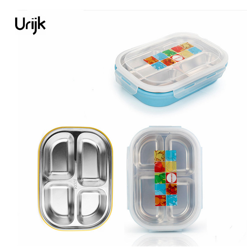 Double Layers Insulation Bento Box Lunch for Kids Students Stainless Steel 4 Grids Food Container Storage Microwave