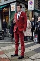 Latest Coat Pant Designs Red Velvet Tuxedo Slim Fit Men Suit 2 Piece Blazers Custom Groom Prom Suits Terno Masuclino Jacket+Pant
