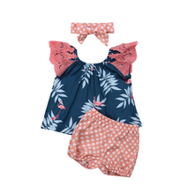 Newborn Girl Clothes Sleeveless Flamingo Leaves Tops+Dot Shorts 3PCS Outfit Baby Girl Outfits Baby Clothes Set Girls Clothing newborn baby girl clothes sleeveless tops shorts 2pcs outfits set 0 18m girls rompers clothing