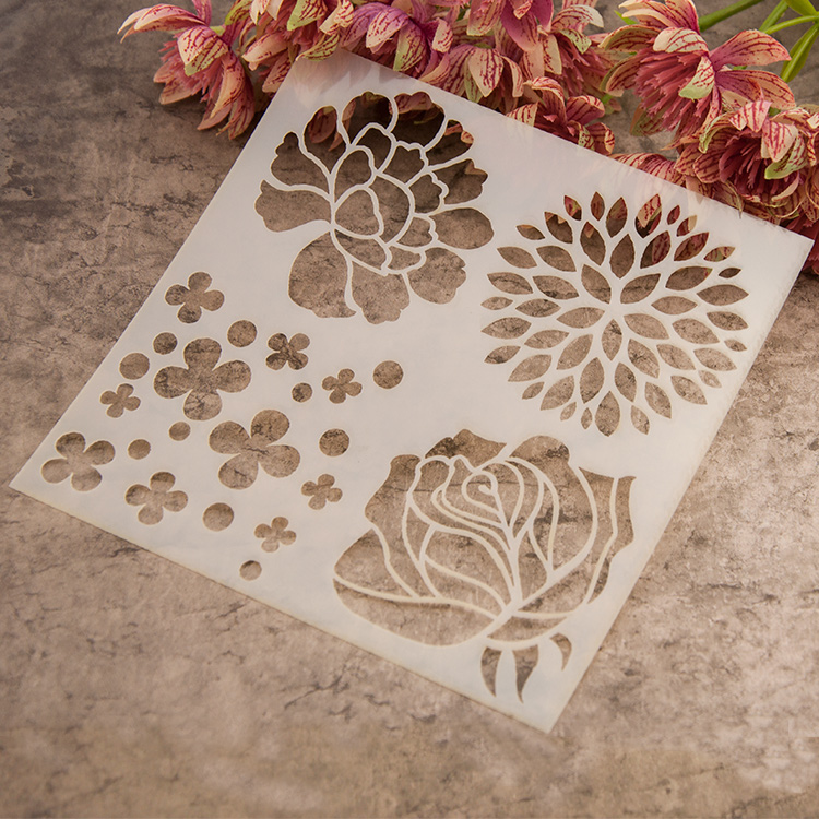 Plastic Painting Drawing Color Spray Painted Flower Design Stencil Art Supplies Acrylic Brush Scrapbooking Set In Sets From Office School