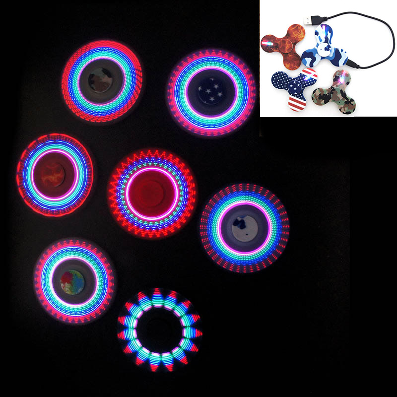 USB Charge Cool Fidget Spinner Light Hand Spinner Fidget Toy LED Rainbow Top Finger Spinner Glow in Dark Figet Spiner LED graphic print crop top