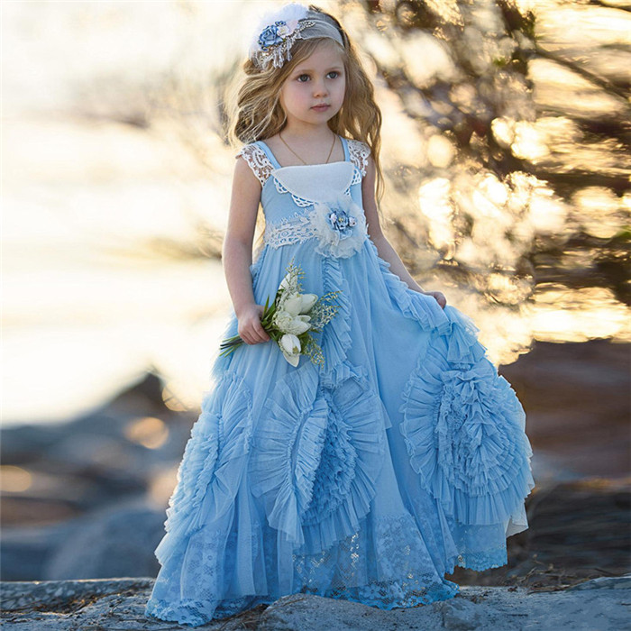 Vintage Light Blue Flower Girls Dress with Gathered Twirl Design Square Neck Lace Pageant Dress For Girls 2018 gathered sleeve surplice wrap dress
