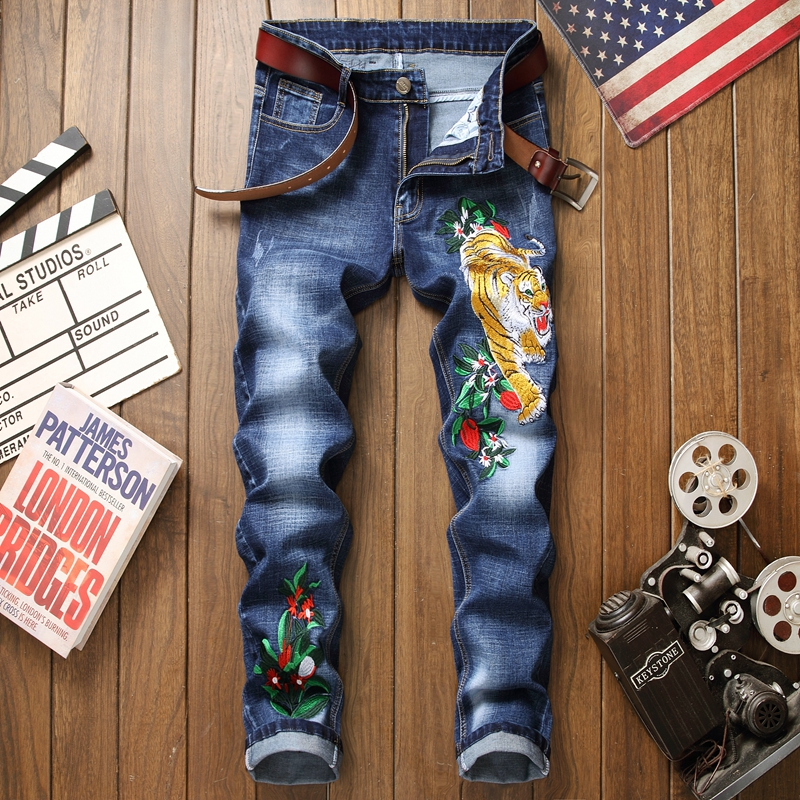 Jeans men blue cotton 3d embroidery ripped floral new homme denim trousers distressed plus size 29-38 straight male pants jeans
