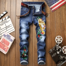 Jeans men blue cotton 3d embroidery ripped floral new homme denim trousers distressed plus size 29-38 straight male pants jeans недорго, оригинальная цена