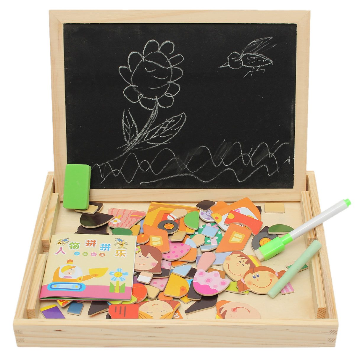 New-Arrival-Drawing-Writing-Board-Magnetic-Board-Puzzle-Double-Easel-Kid-Wooden-Toy-Gift-Children-Intelligence-Development-Toy-3