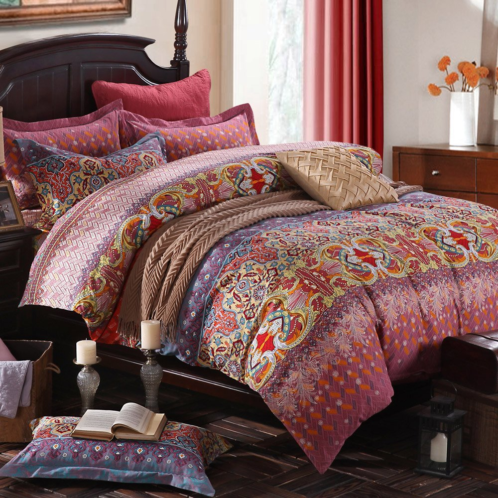 WINLIFE Colorful Bohemian Bedding Set Bohemian Duvet Covers Bed Sheet Fitted Sheet Set Twin