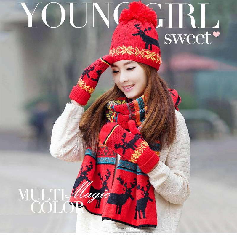 Winter Caps Knit Thick Wool Lining Warm Christmas Gift Reindeer Thick Hat Scarf Glove Sets For Women Or Girl 3pcs Warm Set A39