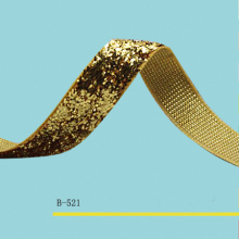 Stretch Metallic Velvet Ribbon  Sparkle 3/8 Gold Elastic Glitter Price Negotiated