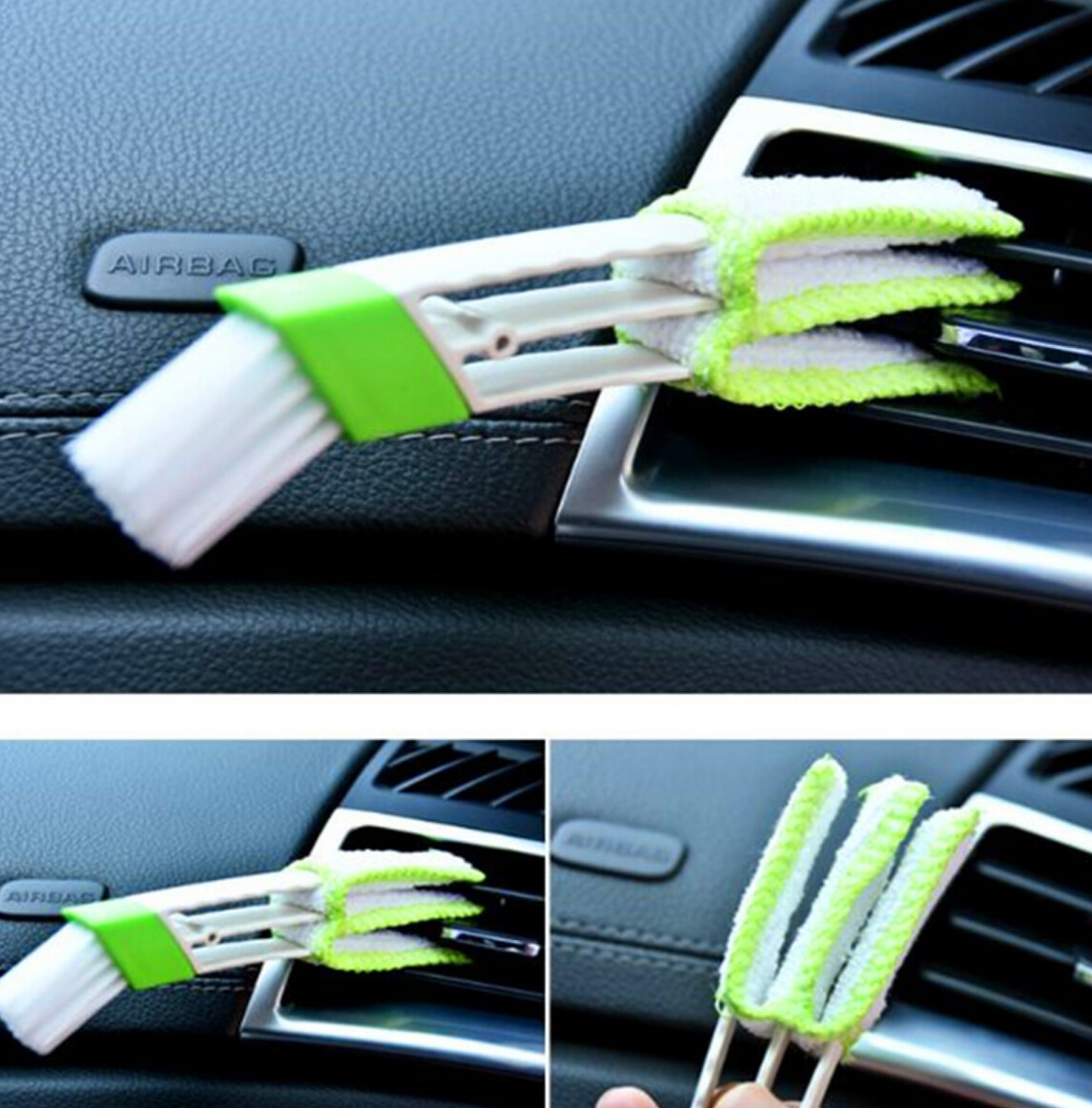 Portable Double Ended Car AC Vent Slit Cleaner Brush Dusting Blinds Keyboard Cleaning for Ford Ecosport 2013-2017 2018 Everest(China)