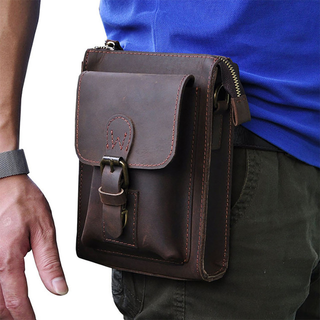Crazy Horse Genuine Leather Men Fanny Waist Pack Vintage Shoulder Messenger Bags Case Mobile Phone Pocket Purse Hip Bum Belt Bag