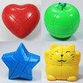 Estranho-forma de cubo mágico 3x3x3 cubo mágico 2x2x2 red apple coração estrela gato forma futebol enigma velocidade cubo de plástico