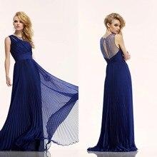 Kurze Brautkleider Elegante A-linie U-ausschnitt Bodenlangen Chiffon Kleid Long Hollow Zurück Abend Formales Kleid Drapierte F715